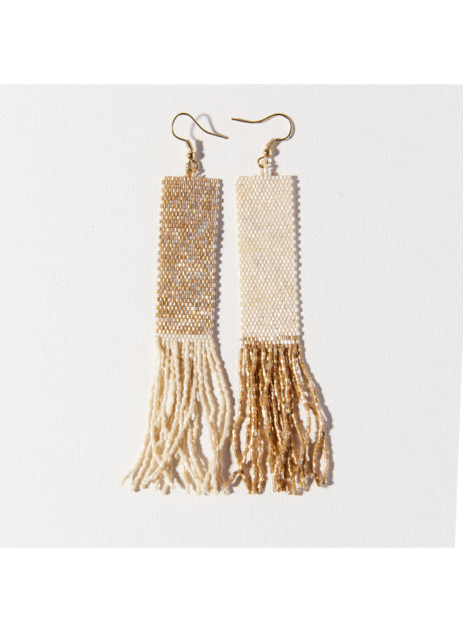 Gold and Ivory Mirror Image  Long Fringe Earrings