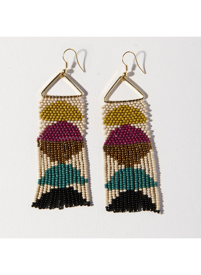 Muted Colors Half Circles On Triangle Fringe Earrings - Ivory, Purple, Citron, Teal