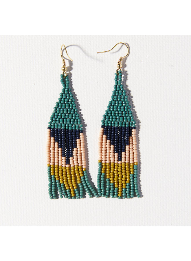 Beaded Triangle Small Fringe Earrings - Teal, Navy, Peach, Citron