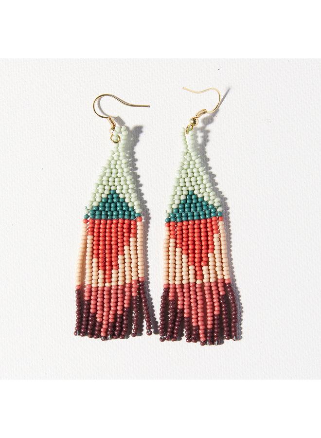 Beaded Triangle Small Fringe Earrings - Mint, Teal, Terracotta, Peach, Berry