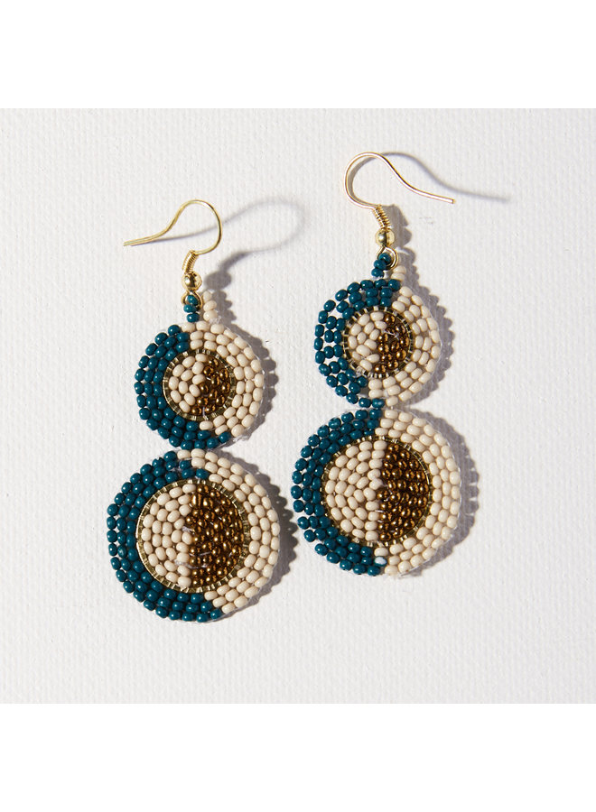 Beaded Double Circle Earrings - Peacock, Ivory, Gold