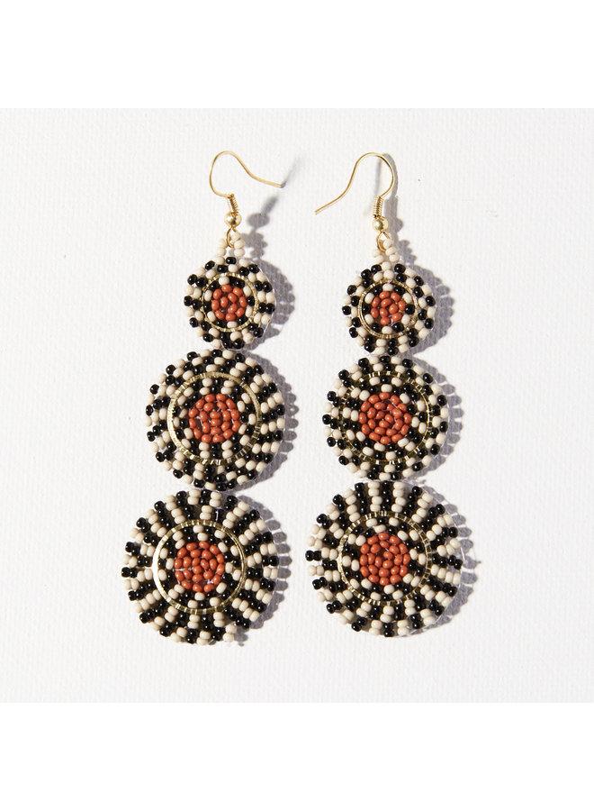 Beaded Triple Circle Earrings - Black, White, Rust