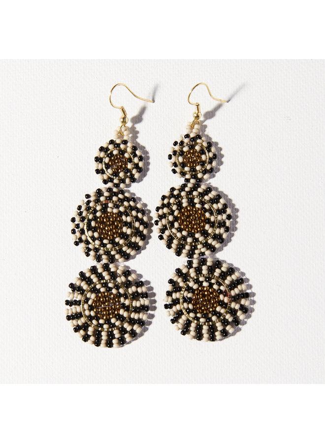Beaded Triple Circle Earrings - Black, White, Gold