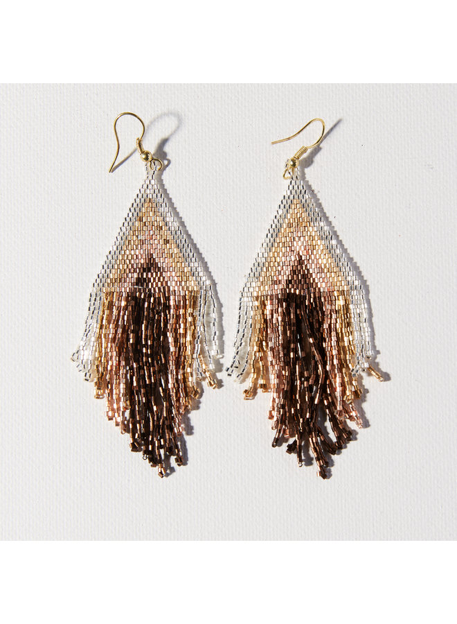 Mixed Metallic Striped Earrings With Fringe - Silver, Gold, Brown