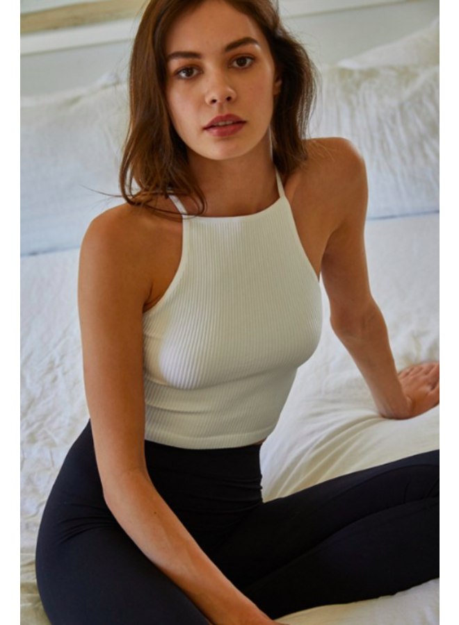 Ribbed High Neck Crop Top w/ Cross Back - White - By Together