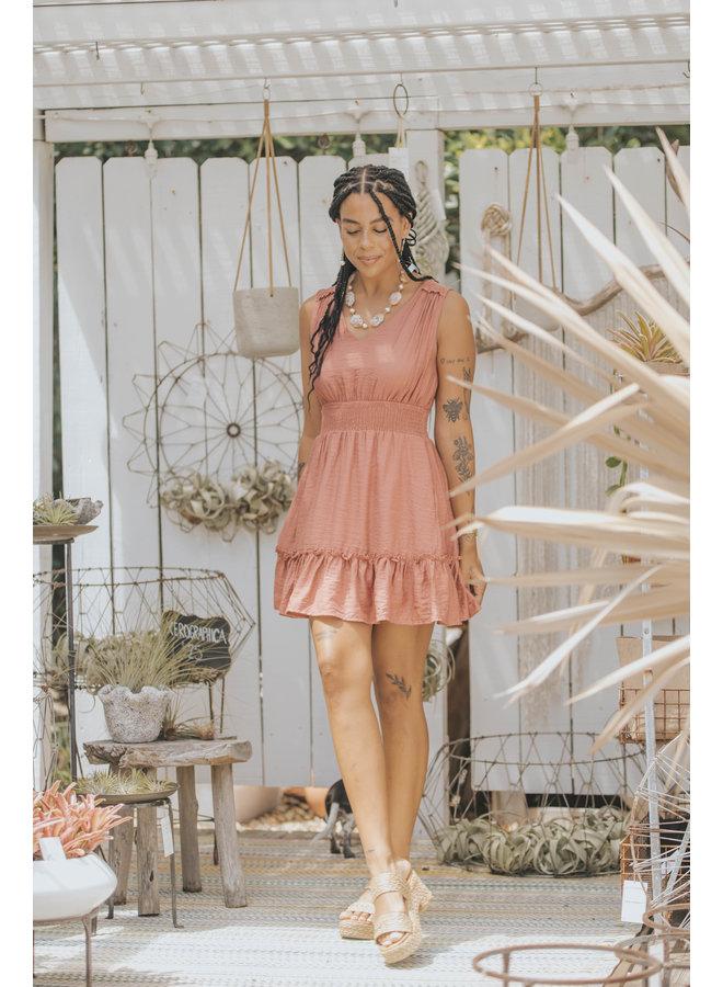 V Neck Smocked Waist Mini Dress w/  Ruffle by Wishlist - Sienna Orange