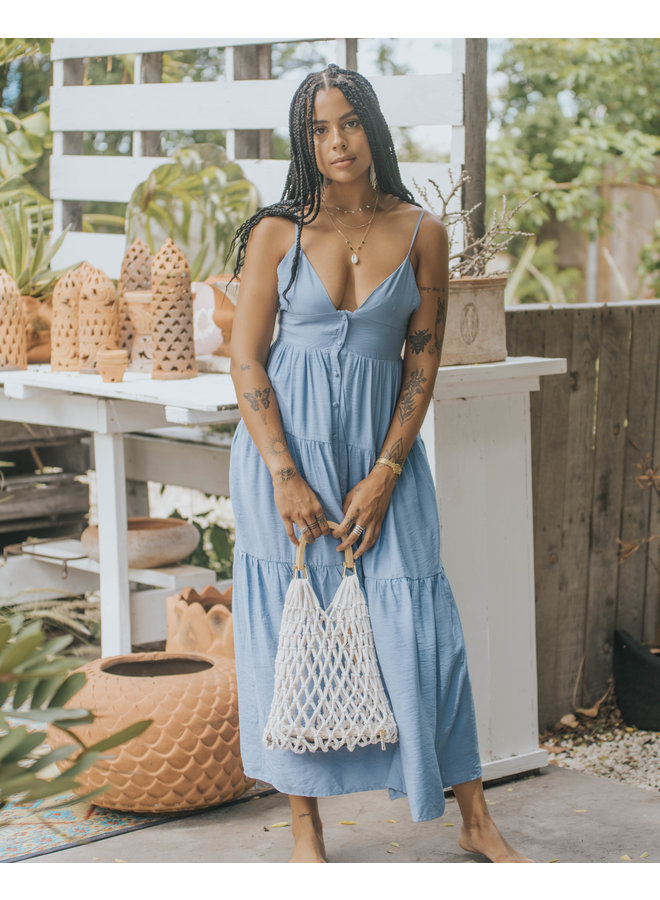 Blue Tiered Button Down Maxi Dress by Wishlist - Blue