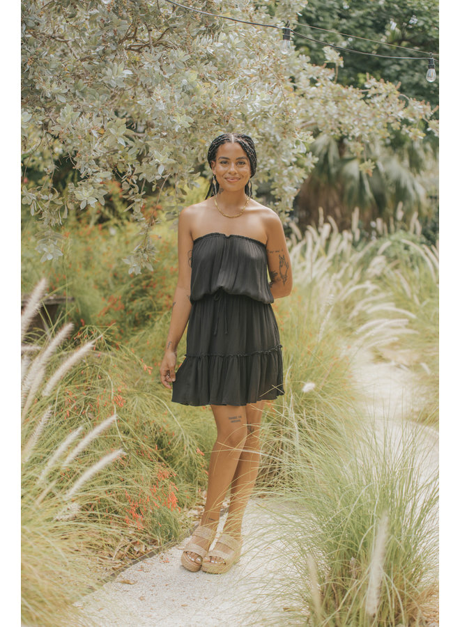 Strapless Gauze Dress by Elan - Black