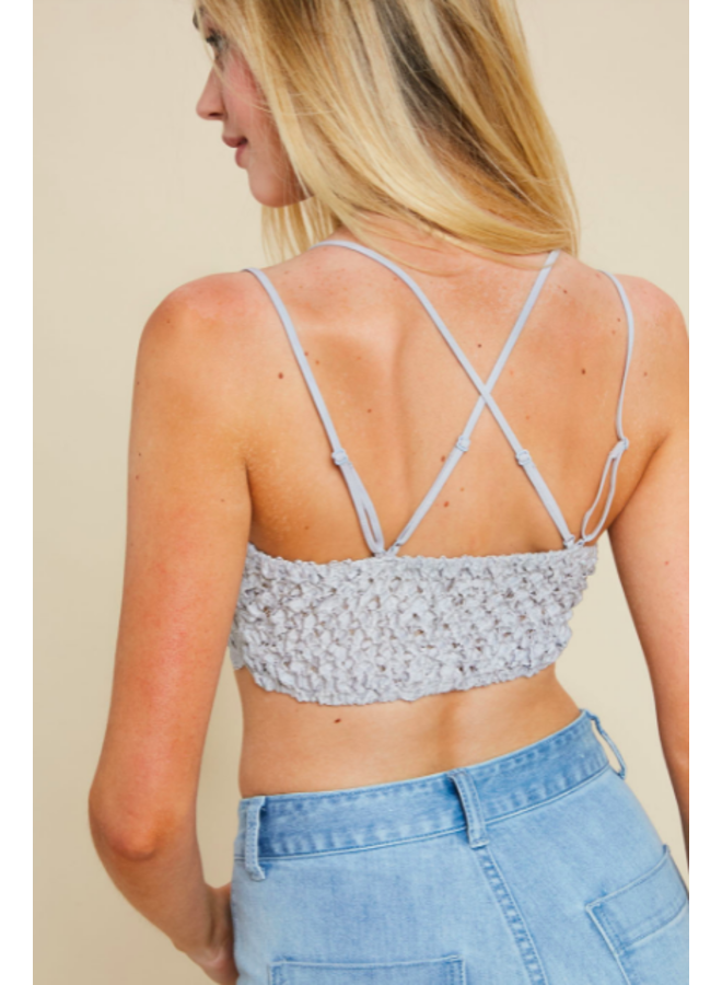 Strappy Lace Padded Bralette / Crop Top by Wishlist- Stone