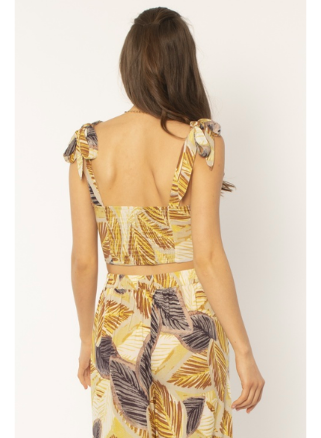 Wes Woven Crop Top w/ Tie Straps  - Yellow Tropical