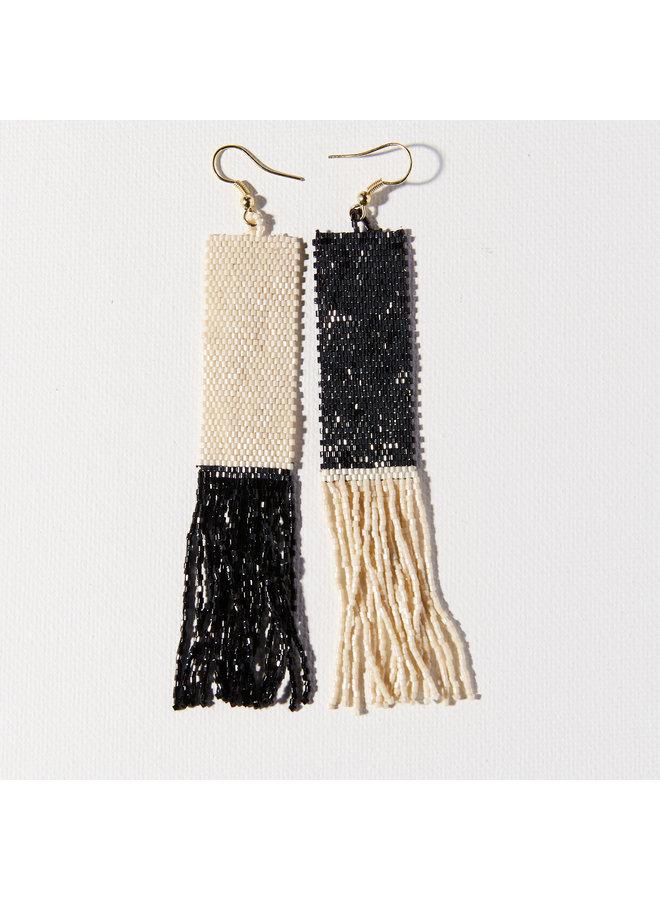 Black and Ivory Mirror Image  Long Fringe Earrings
