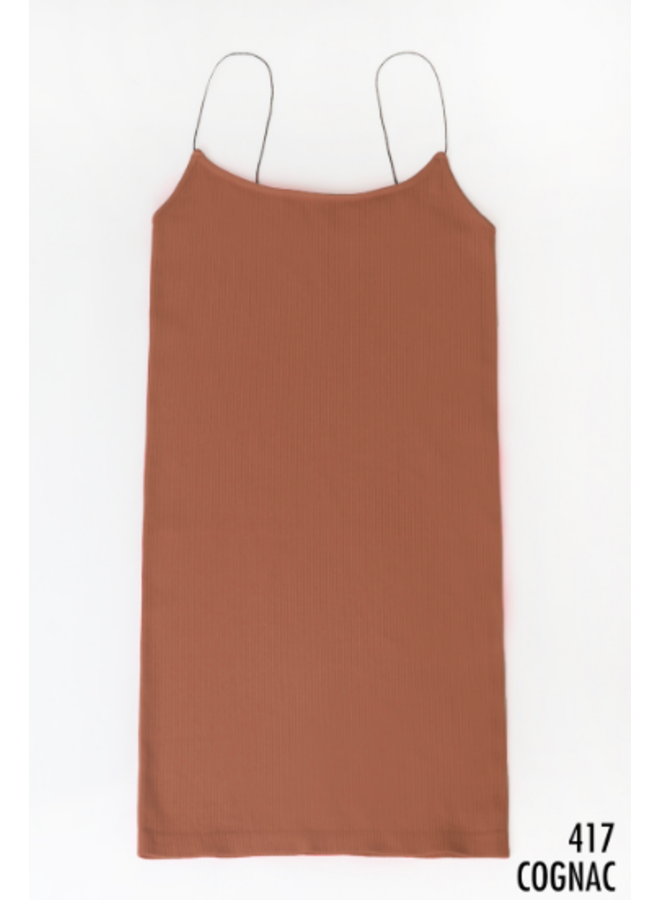 Ribbed Mini Dress w/ Thin Straps by NikiBiki - Cognac
