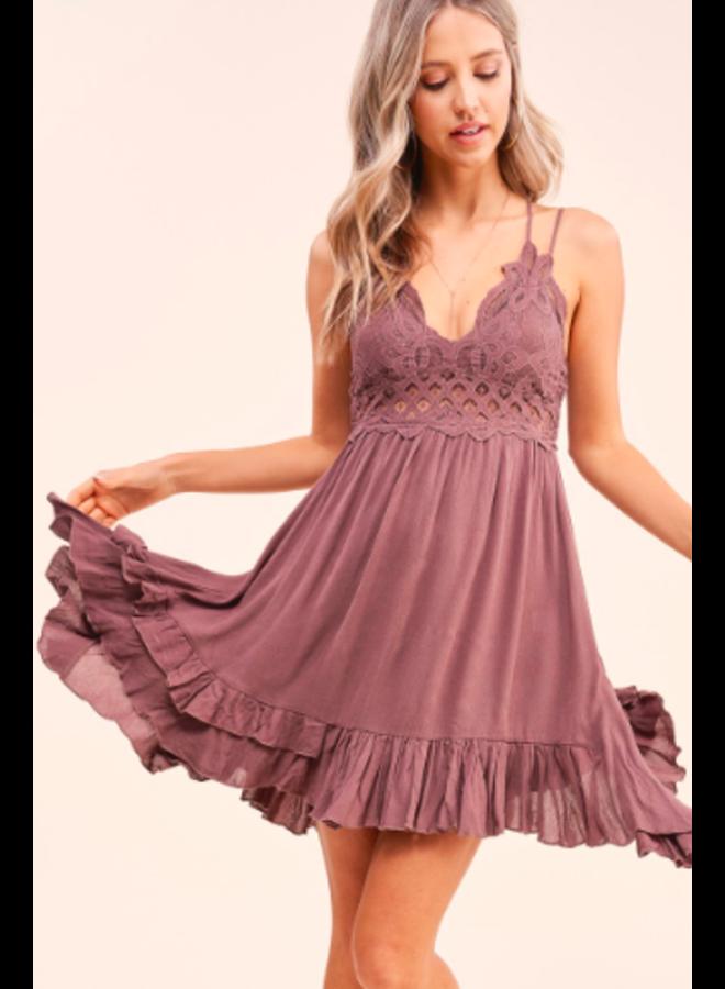 Lace Top Short Slip Dress - Mocha