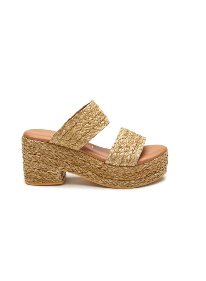 Two Strap Braided Straw Platform Wedge Sandals - Ocean Ave - Cognac Straw