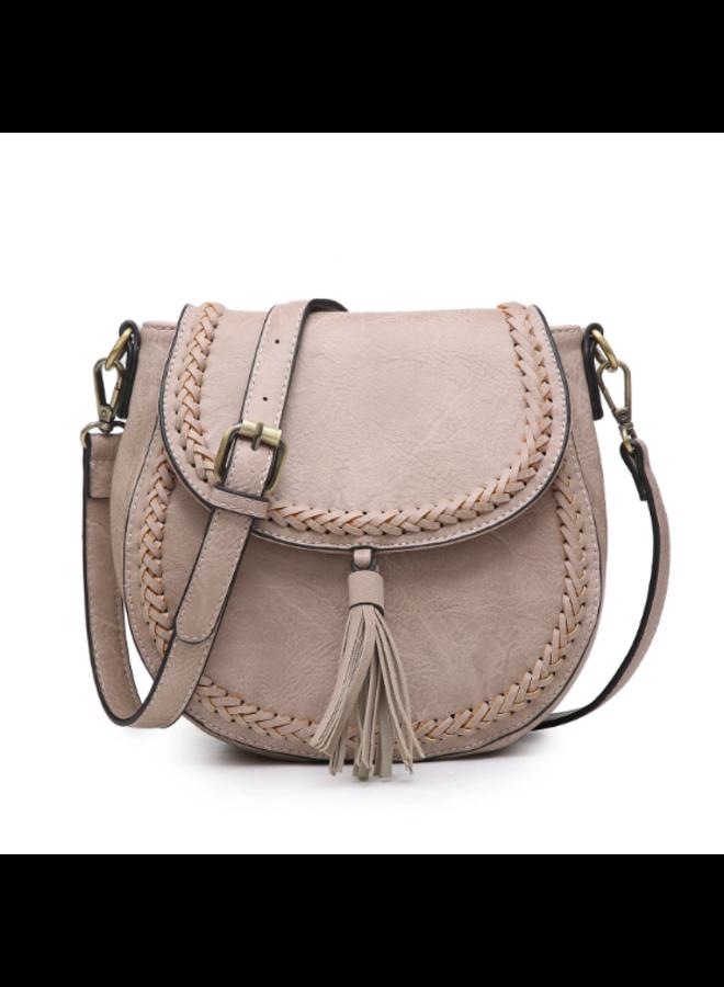 Penelope Saddle Stitch Crossbody Purse w/ Changeable Strap  - Warm Grey