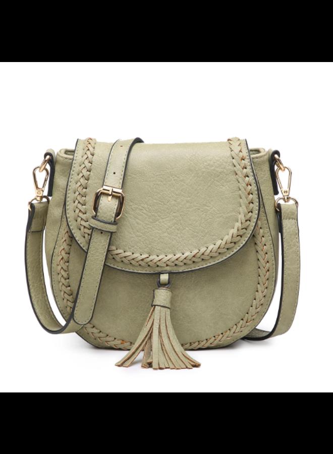 Penelope Saddle Stitch Crossbody Purse w/ Changeable Strap  - Willow