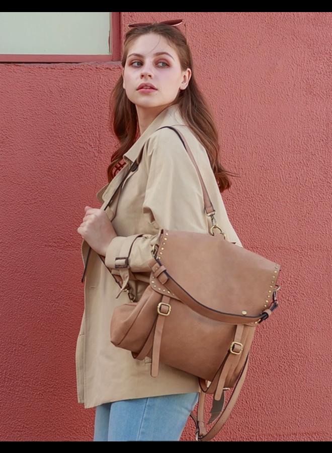 Convertible Backpack w/ Stud Detail- Latte Brown
