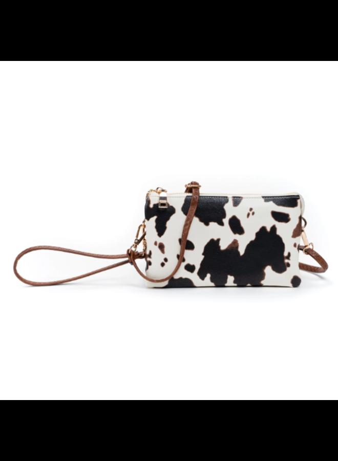 Convertible Cross Body Purse, Wristlet or Clutch - Cow Print