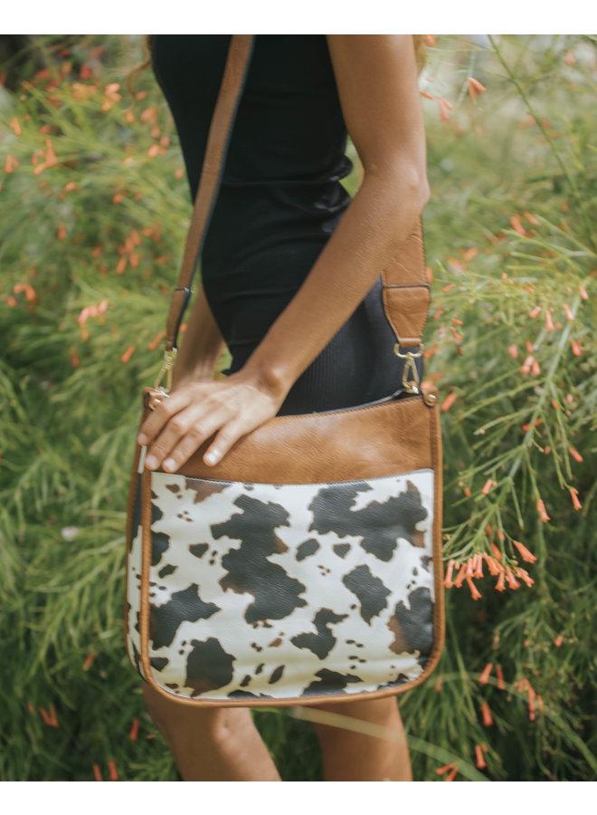 Chloe Large Crossbody Purse w/ Front Pocket - Cow Print - Brown