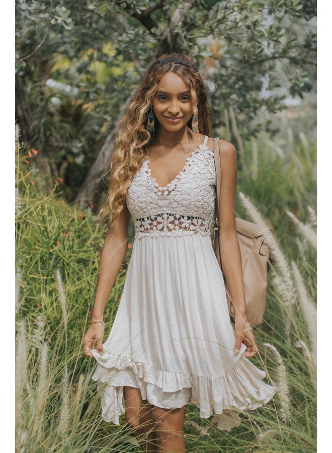 Daisy Crochet Top Short Slip Dress - Tan / Natural