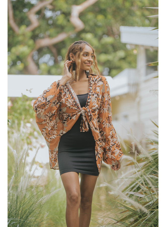 Good Vibrations Top - Free People - Terracotta Floral