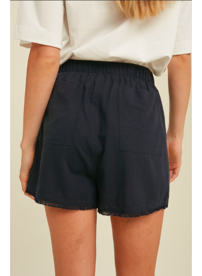 Loose Tencel Drawstring Shorts w/ Raw Hem by Wishlist - Navy