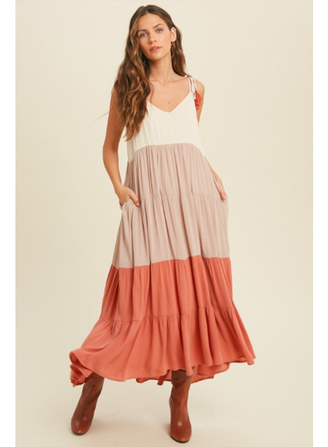 Tiered Colorblock Maxi Dress by Wishlist - Brick Orange Combo