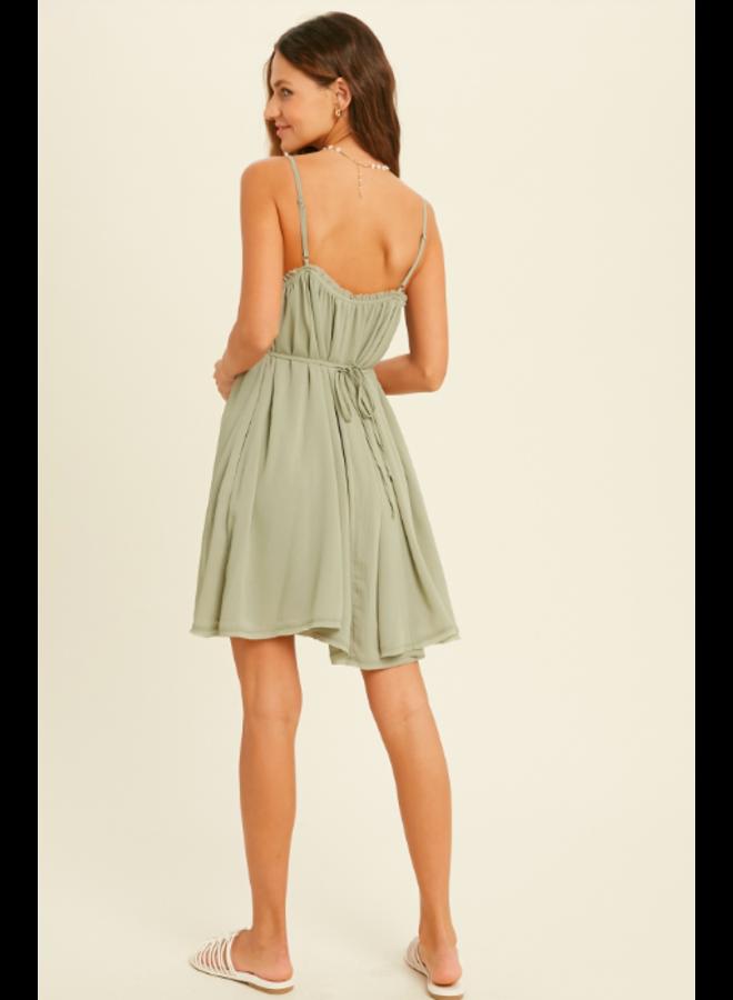 Spaghetti Strap V Neck Mini Dress w/  Tie Back by Wishlist - Sage Green