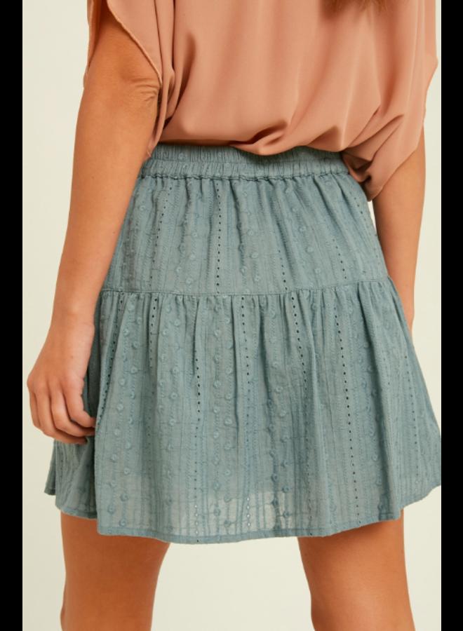 Eyelet Mini  Wrap Skirt  by Wishlist -Blue