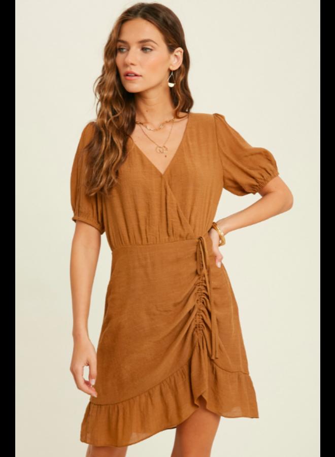 Ruched Front Mini Dress w/ Puffed Sleeve & Ruffle Hem by Wishlist - Gucci Brown