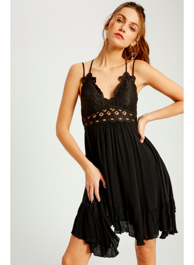 Lacey Top Short Slip Dress by Wishlist - Black