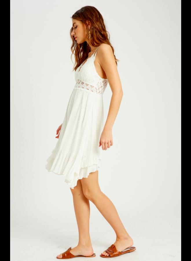 Lacey Top Short Slip Dress by Wishlist - White