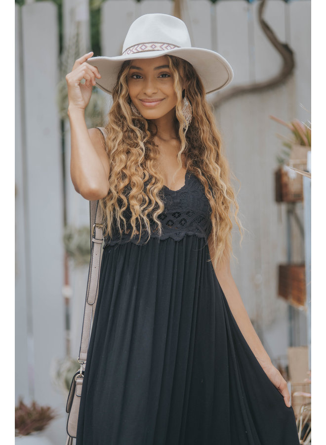 Lace Top Maxi Slip Dress - Black