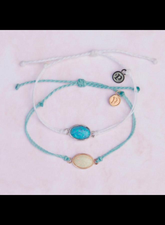 Pura Vida -  Opal Charm Bracelet -  White Silver