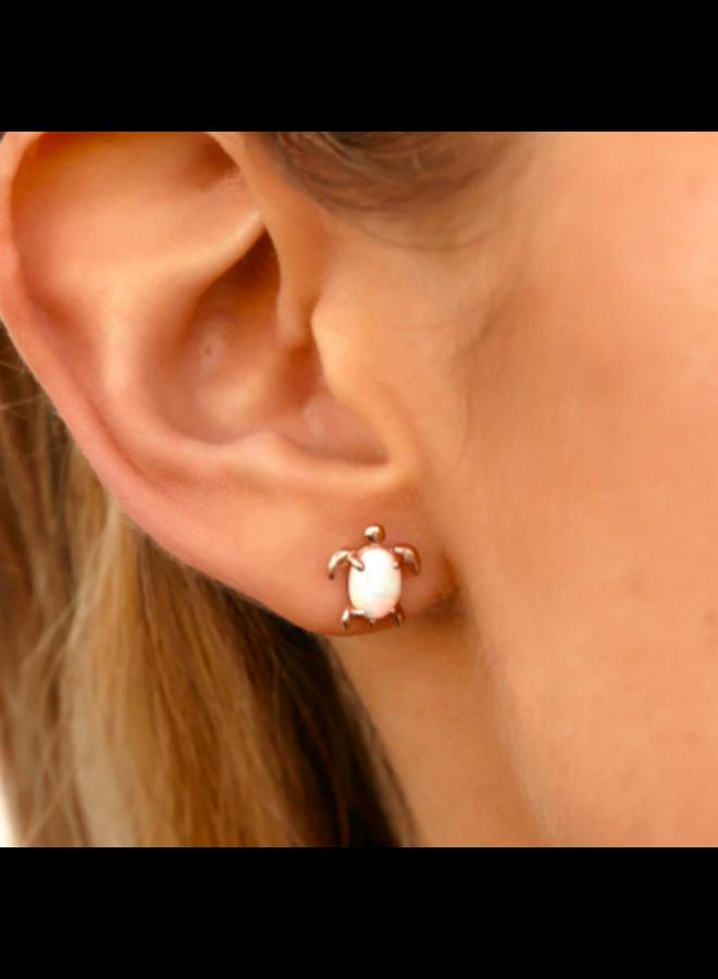 Pura Vida -  Rose Gold Opal Sea Turtle Stud Earrings
