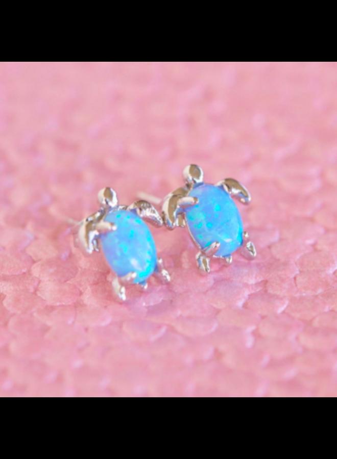 Pura Vida -  Sliver Opal Sea Turtle Stud Earrings