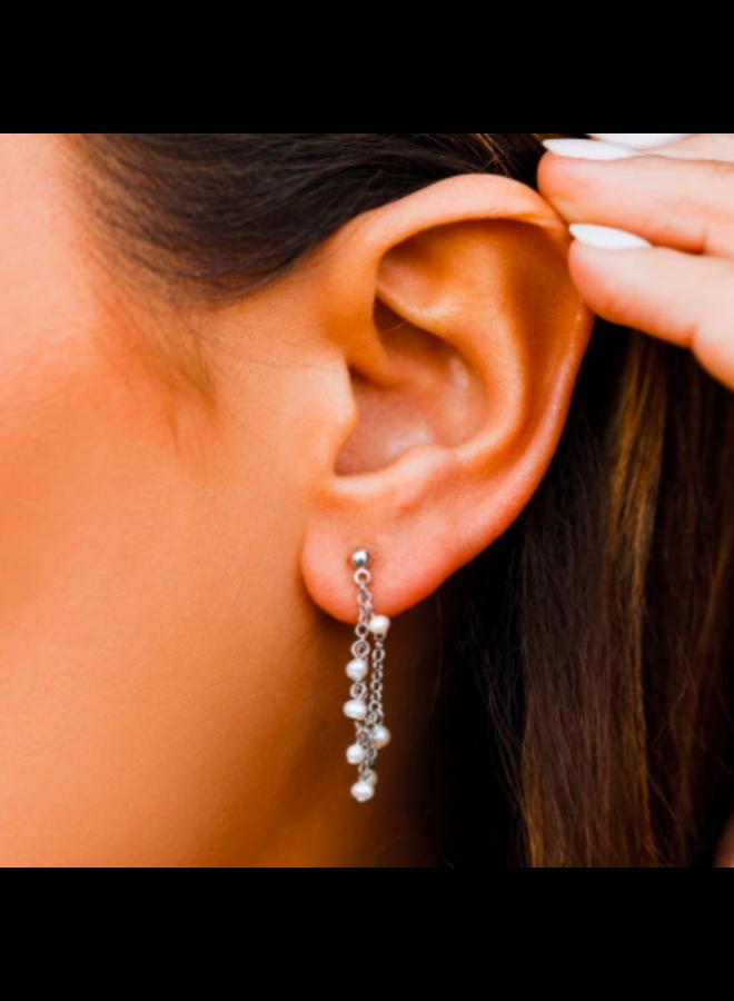 Pura Vida -  Pearl Chain Wrap Earrings Silver
