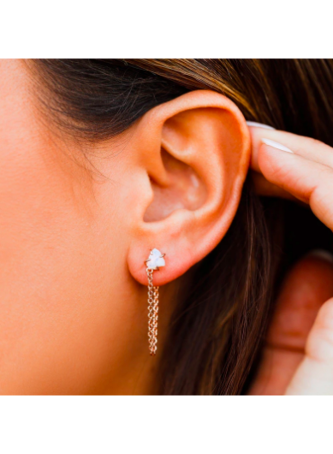 Pura Vida -  Raw Gem Chain Wrap Earrings - Rose Gold
