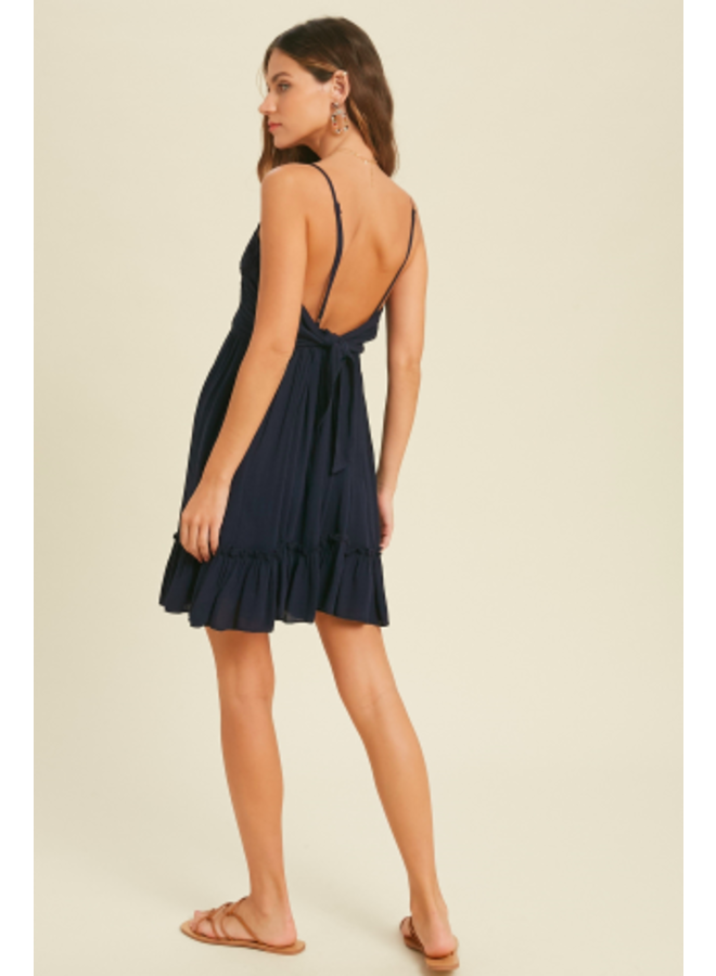 Short Halter Dress with Smocked Middle and Tie Back  by Wishlist - Navy