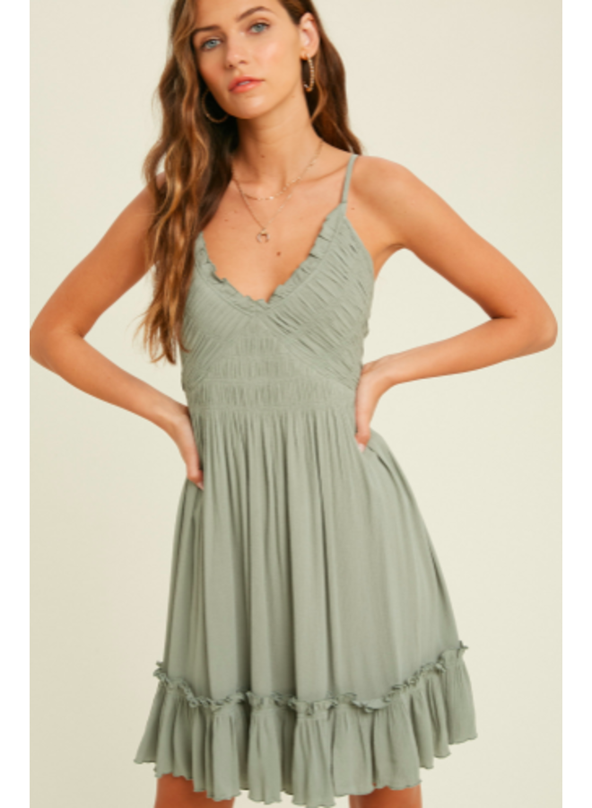 Short Halter Dress with Smocked Middle and Tie Back  by Wishlist - Sage Green