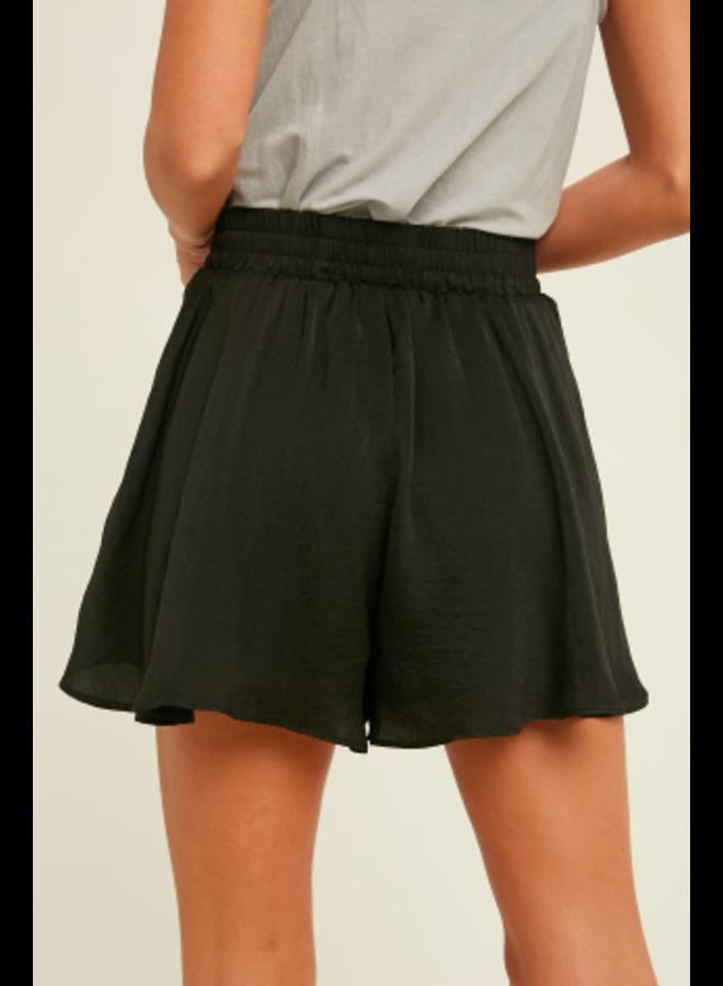 Loose Satin Shorts by Wishlist - Black Satin