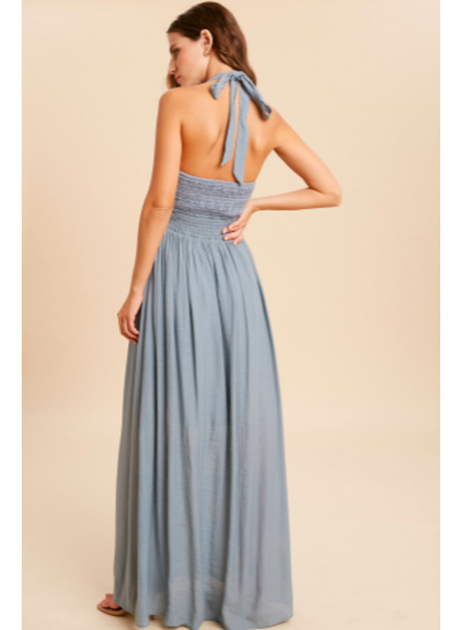 Halter Maxi Dress  Smocked Middle by Wishlist - Cloud Blue