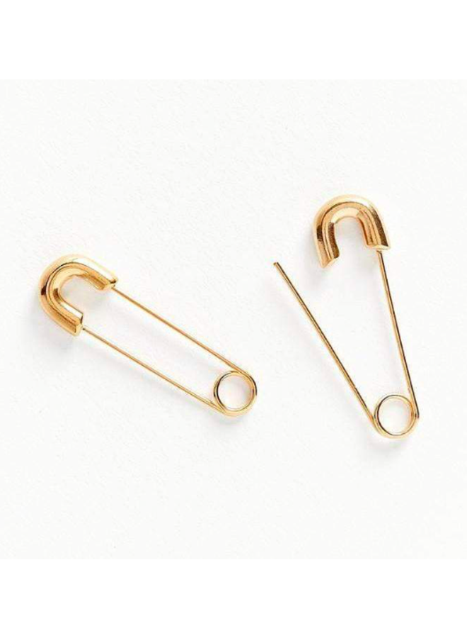 Gold Safety Pin Earrings - Abi by Ellie Vail