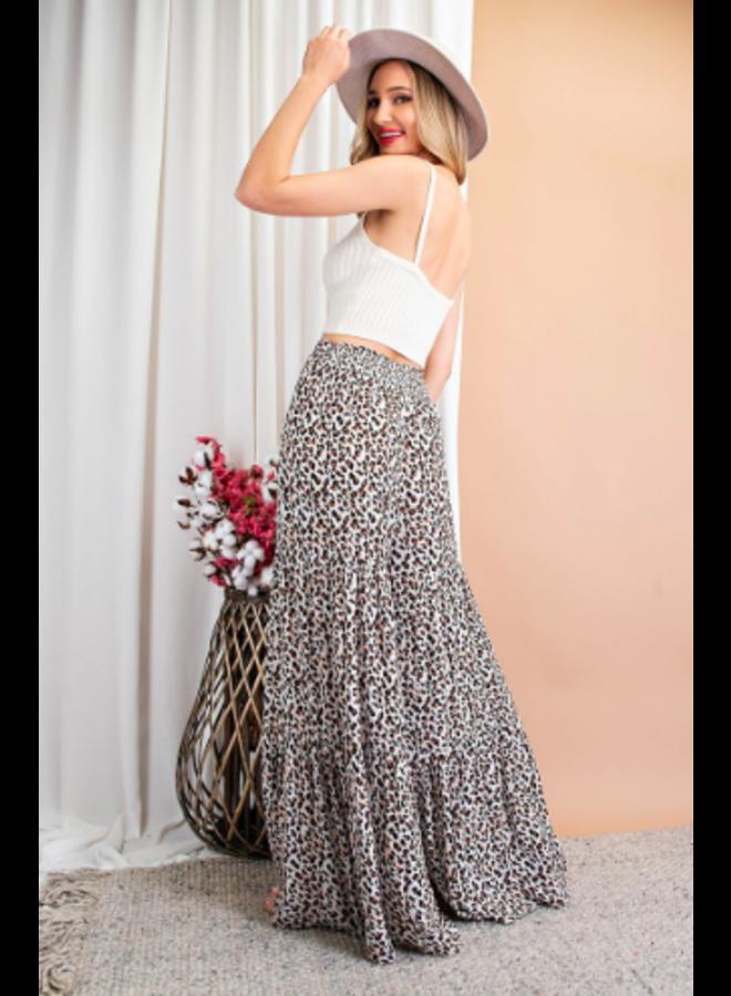 Wide Leg Tiered Pants w/ Tie Waist - Leopard