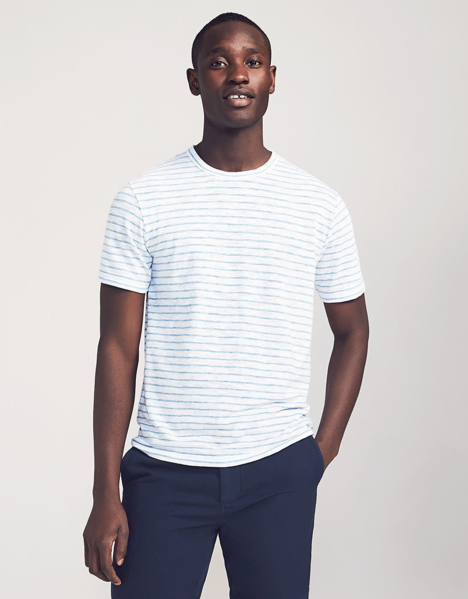 Faherty Azure Stripe Tee