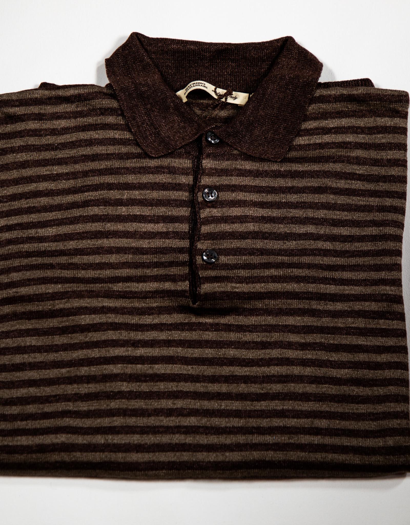 MAURIZIO BALDASSARI Linen Stripe Polo