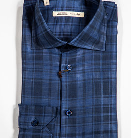 MAURIZIO BALDASSARI Satin Plaid Button Up