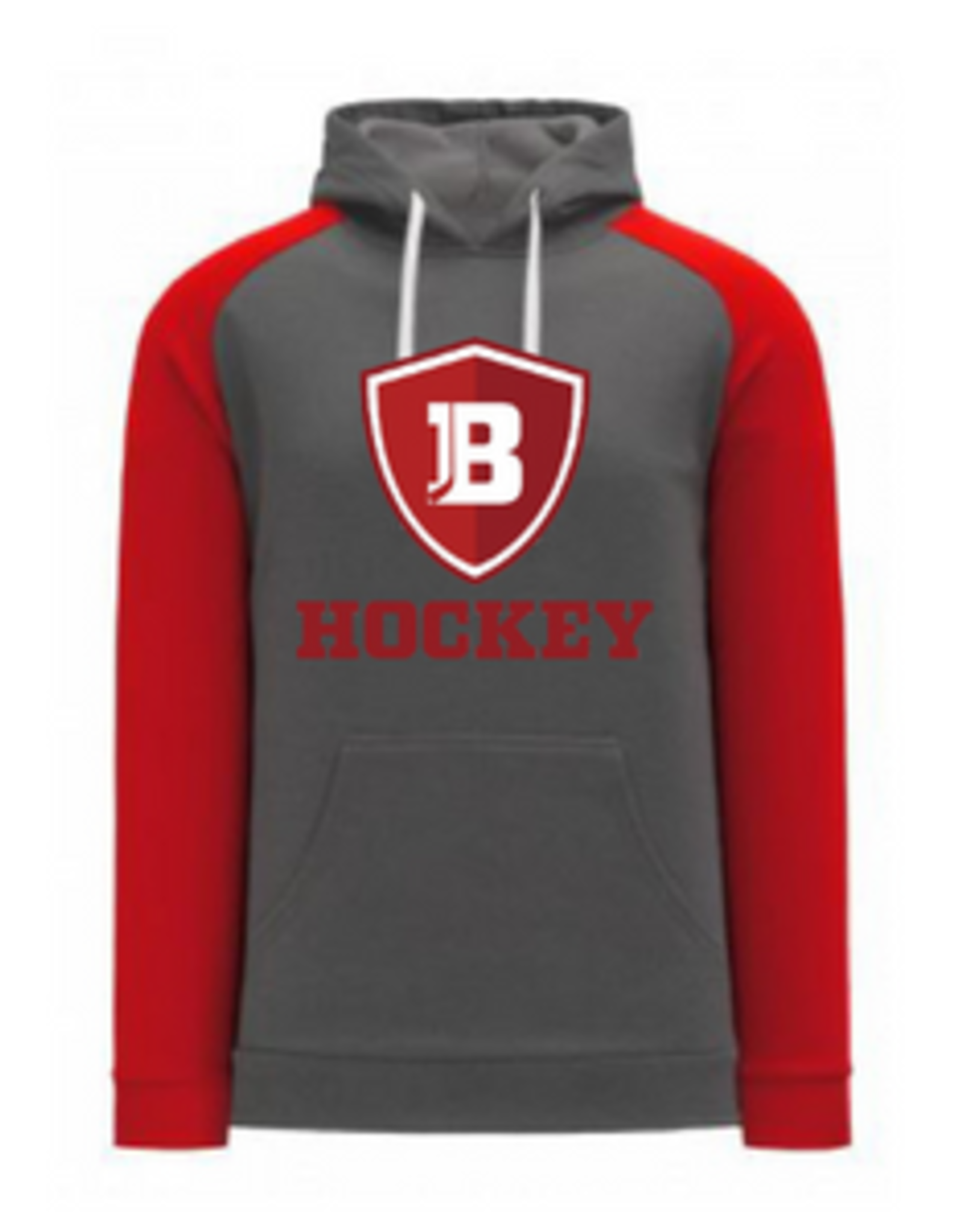 AK Bradley AK Grey/Red Logo Hockey Lace Up Hoodie (SENIOR)