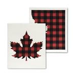 ABBOTT ABBOTT Swedish Dishcloth S/2 - Buffalo Check Maple Leaf