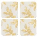 PIMPERNEL PIMPERNEL Etched Leaves Coasters S/6 - Light Grey